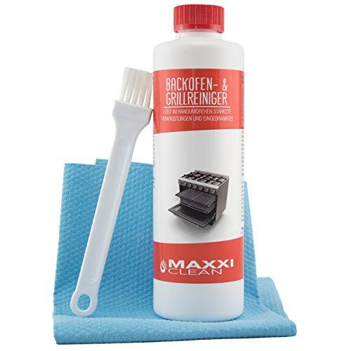 Backofen- und Grillreiniger mit Pinsel und Tuch mit 0,5 Liter von maxxiclean